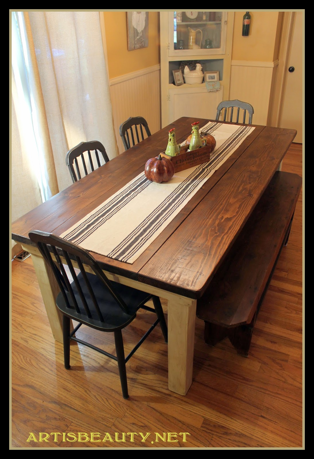 Remodelaholic build a farmhouse table for under 100 for Kitchen table designs plans