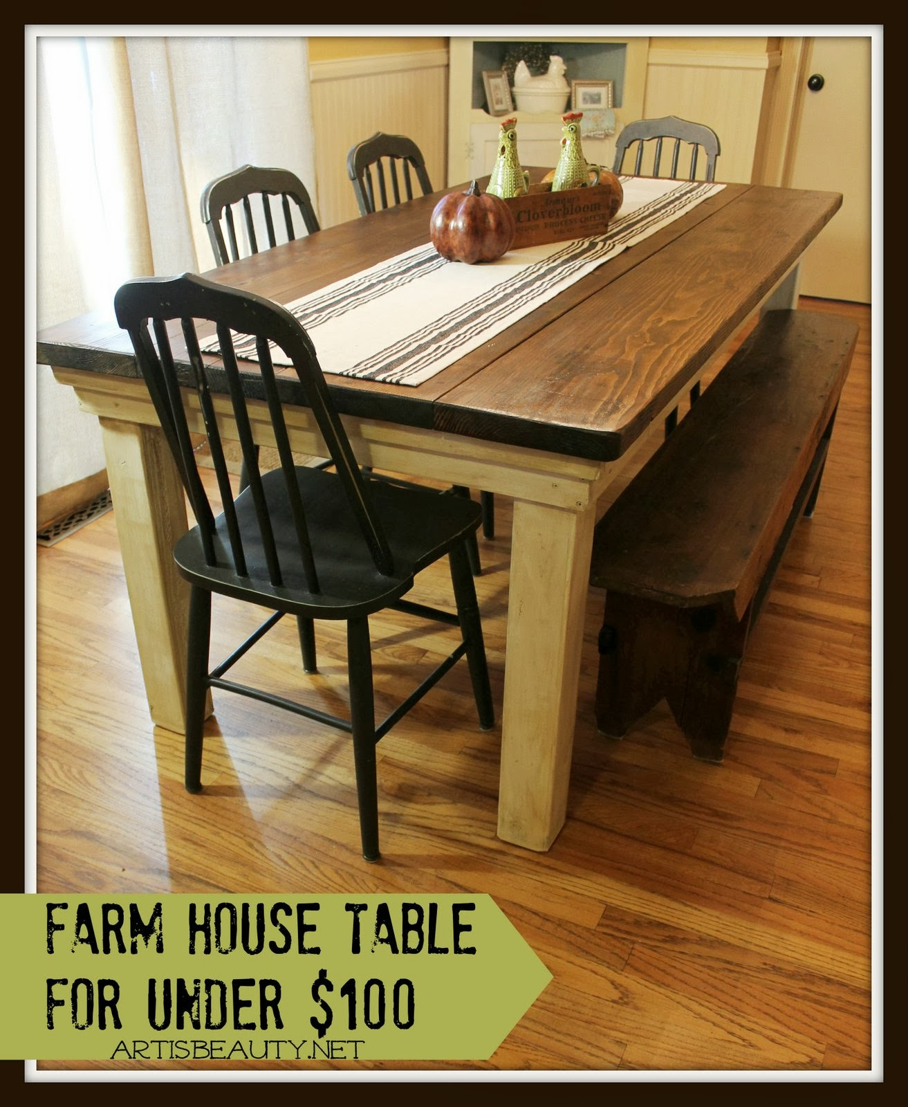 Great Build a Farmhouse Table for Under Art Is Beauty featured on Remodelaholic