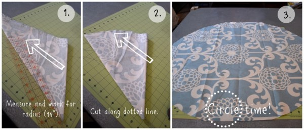how to cut a large fabric circle for a land of nod floor pouf knock-off, featured on Remodelaholic.com