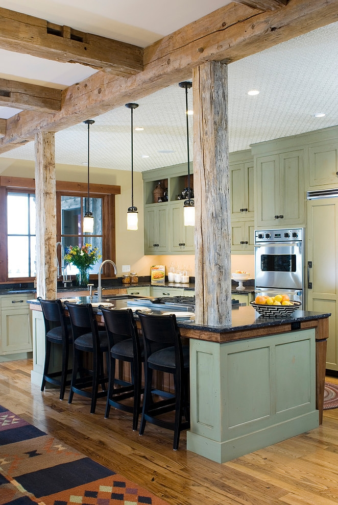 Remodelaholic white country kitchen remodel with marble for Decorative beams in kitchen