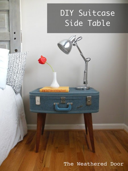 old suitcase turned side table, The Weathered Door via Remodelaholic.com