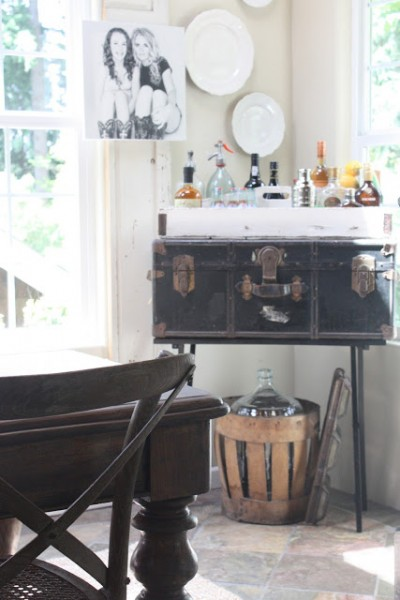 old trunk into wet bar table, My Sweet Savannah via Remodelaholic.com