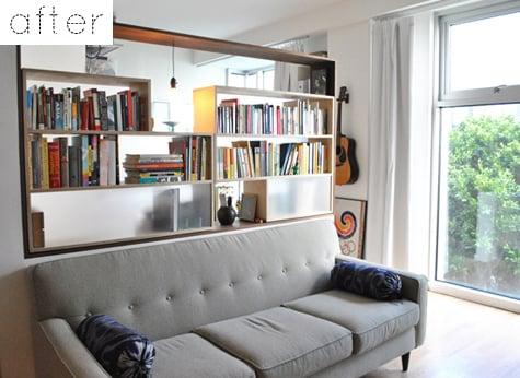 open book shelf as a room divider, Design Sponge