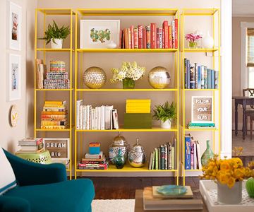 open shelf library tips via Remodelaholic.com