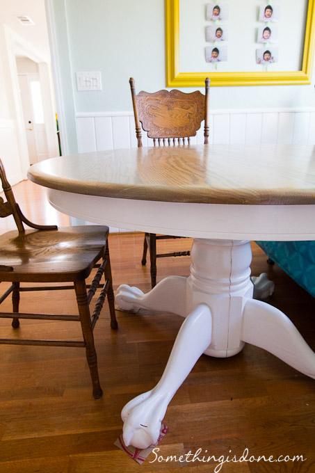 Painted Refinished Pedestal Table, Something Is Done via Remodelaholic