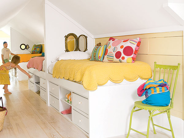 Remodelaholic get this look sunny shared bedroom for boys or girls - Boy and girl shared room ideas bunk bed ...