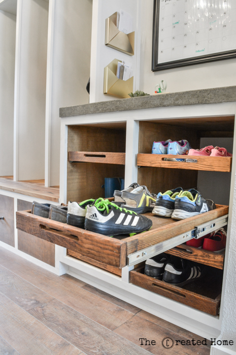 Shoe Storage Idea, Slide Out Shoe Storage Trays In Mudroom Cabinets, The Created Home