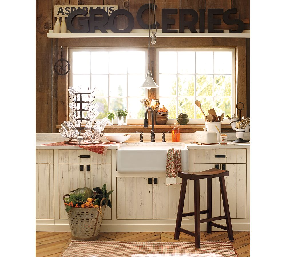Remodelaholic white country kitchen remodel with marble for Pottery barn style kitchen ideas