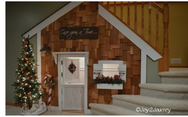 Under Stair Playhouse For Kids With Cedar Shake Shinges Joy2Journey Featured On Remodelaholic