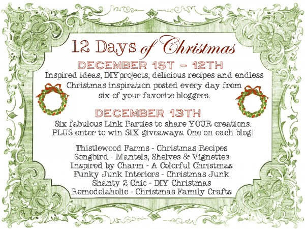 12 Days of Christmas -- 6 blogs, 12 projects each plus 6 link parties and 6 giveaways! #12days72ideas