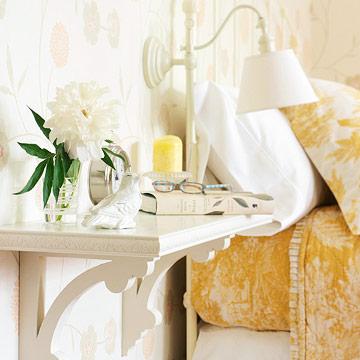 Bedside floating shelf, Better Homes and Gardens via Remodelaholic