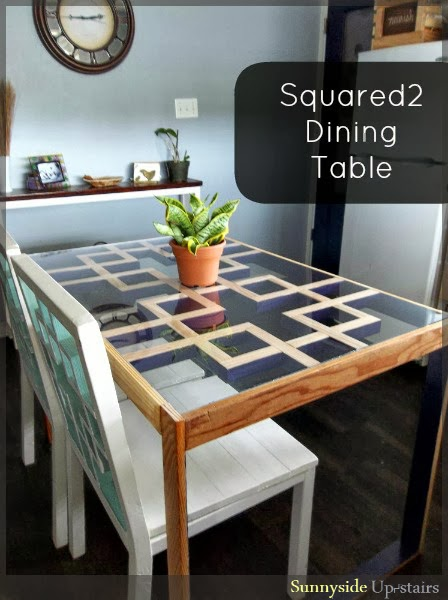 DIY Lattice-Inspired Modern Squared2 Dining Table | Sunnyside Upstairs featured on Remodelaholic.com #buildingplans #diningtable #lattice #squares #diy