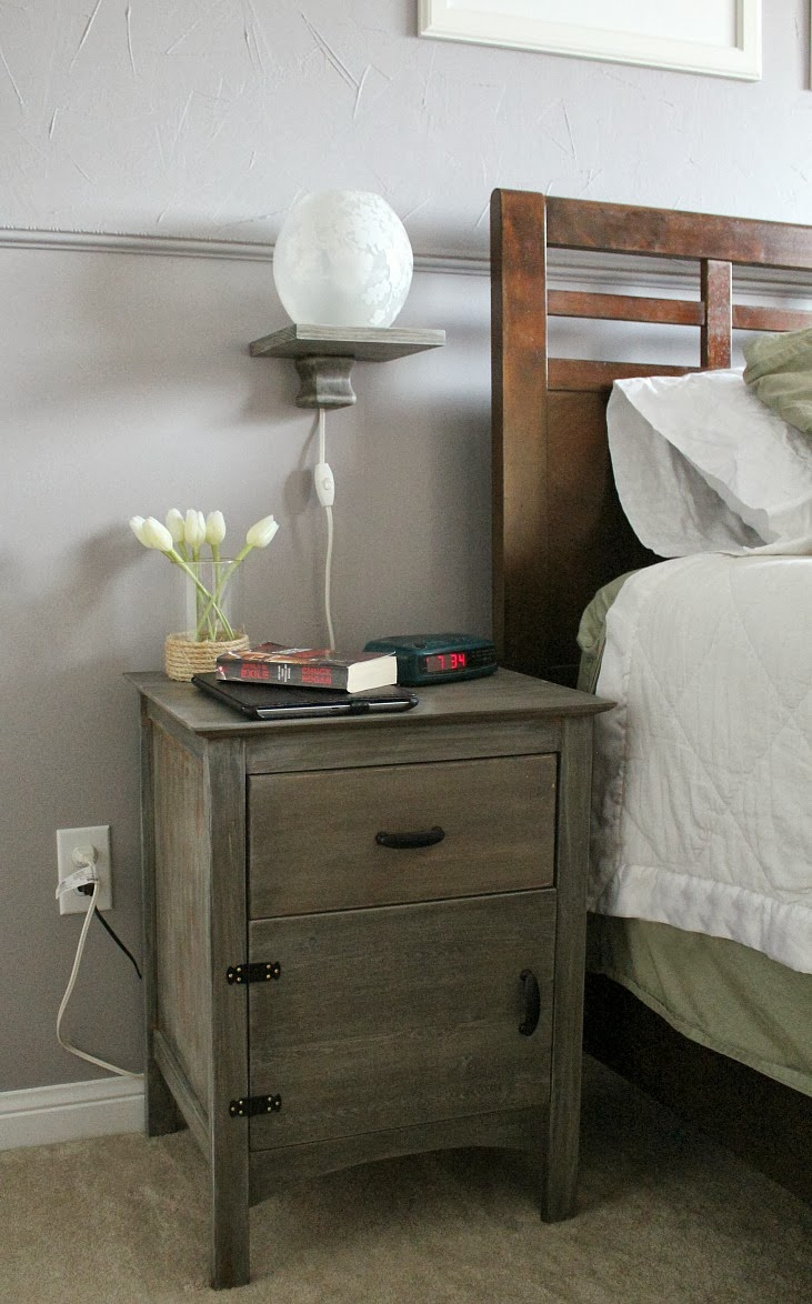 DIY floating bedside lamp shelf over nightstand, Turtles and Tails ...