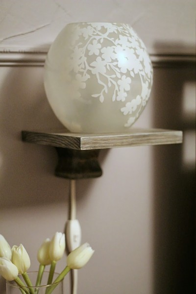 DIY floating bedside lamp shelf tutorial, Turtles and Tails featured on Remodelaholic.com