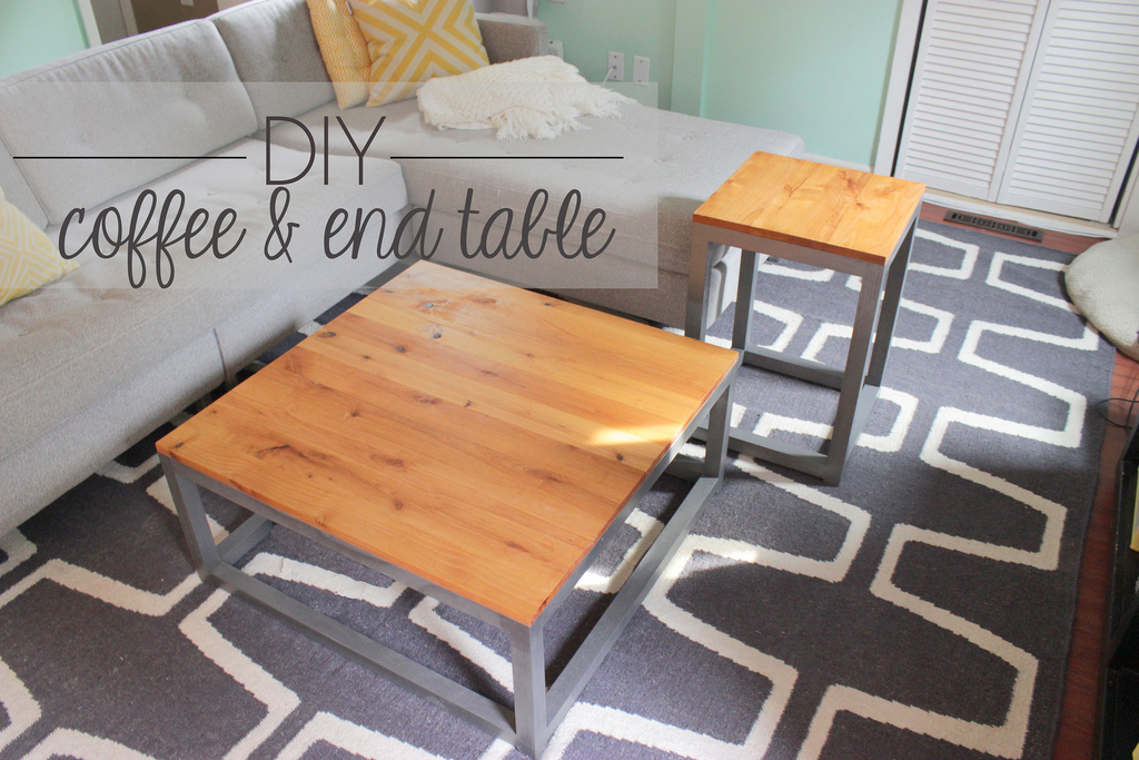 Stunning DIY Modern Coffee Table and End Table Home Coming featured on Remodelaholic