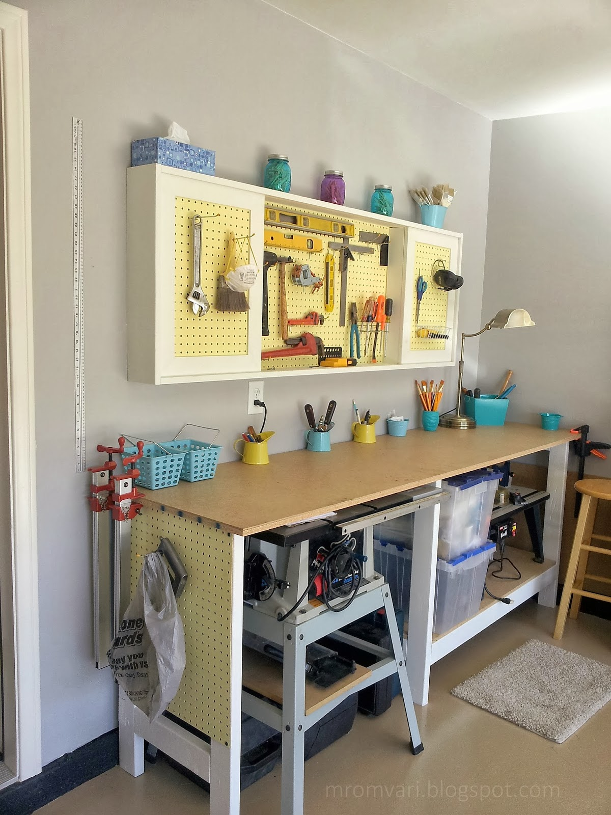 Build A DIY Workbench And Wall Mount Pegboard Tool Cabinet With Sliding Doors Featured