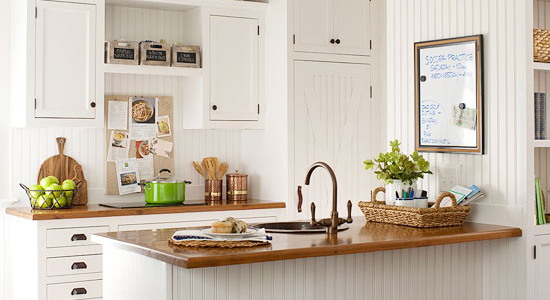 Get This Look - Warm Wood Tones in a White Kitchen via Remodelaholic