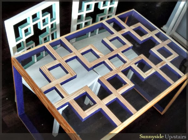 Modern Lattice Square Dining Table Building Plans, Sunnyside Upstairs featured on Remodelaholic