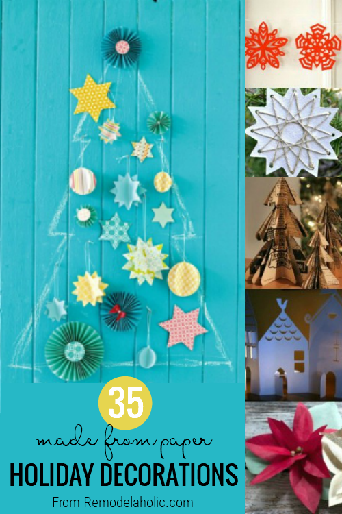 A simple way to give updated holiday decor to your home with a bunch of easy paper Christmas Decorations. 35+ Paper Christmas and Holiday Decorations via Remodelaholic.com