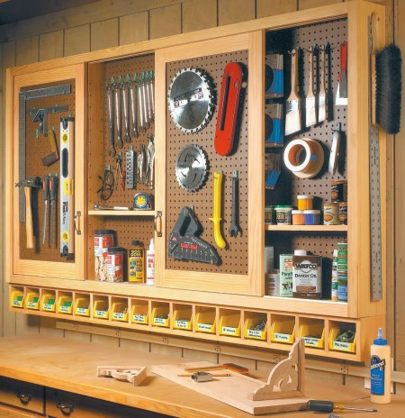 ShopNotes pegboard tool cabinet inspiration, featured on Remodelaholic.com