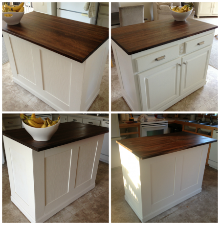 board and batten kitchen island makeover for under $20, featured on Remodelaholic