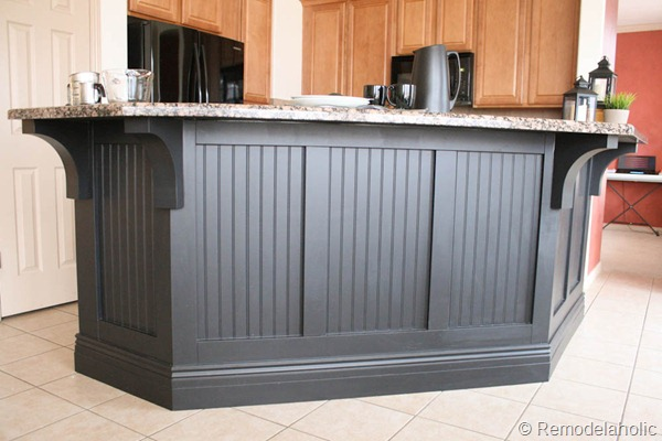Perfect Board And Batten Kitchen Island Makeover With Corbels, Remodelaholic.com