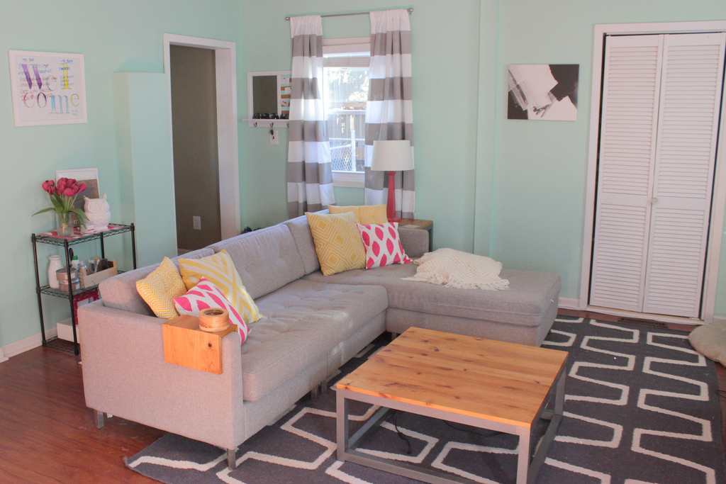 DIY Modern Coffee Table and End Table   Home Coming featured on Remodelaholic.com #diy #buildit #coffeetable #endtable