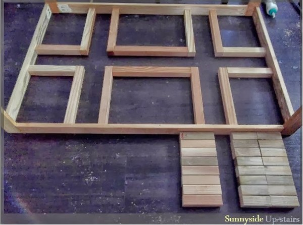 building the lattice-style square dining table, Sunnyside Upstairs featured on Remodelaholic