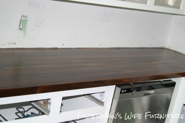 butcherblock countertop mall kitchen makeover, Fisherman's Wife Furniture featured on Remodelaholic.com
