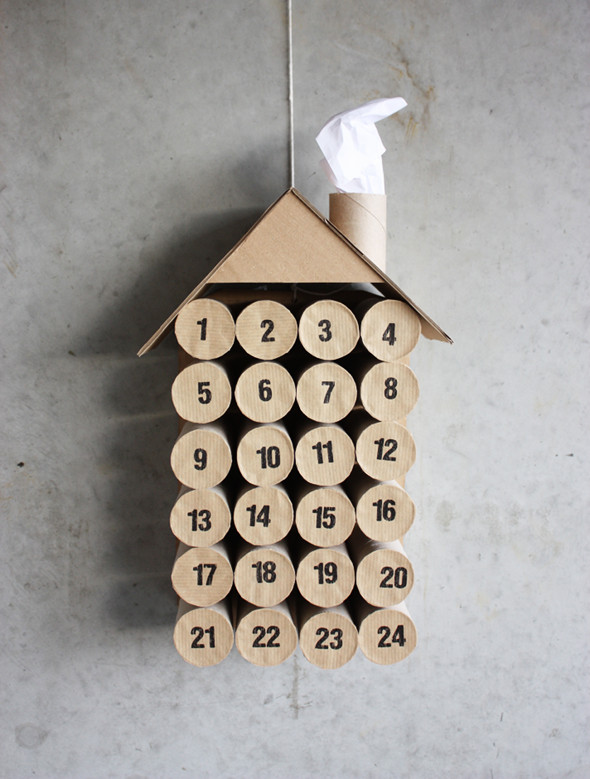 cardboard and toilet paper roll advent calendar, Morning Creativity via Remodelaholic