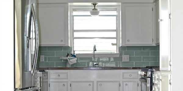 Small White Kitchen Makeover With Built-In