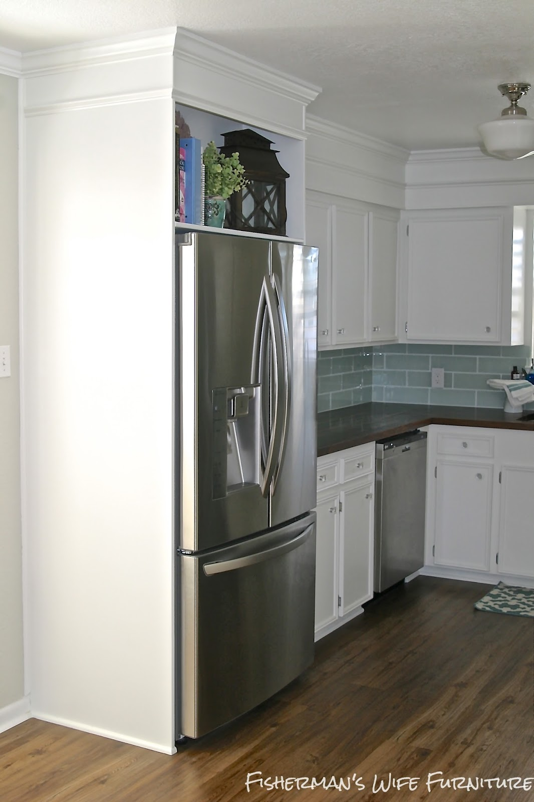 Small White Kitchen Makeover With Built In Fridge