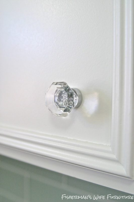 glass knobs on white cabinets, Fisherman's Wife Furniture featured on Remodelaholic.com