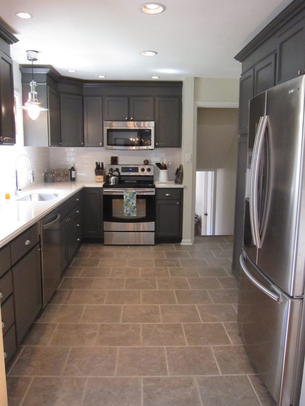 gray and white kitchen, This Little Mama featured on Remodelaholic