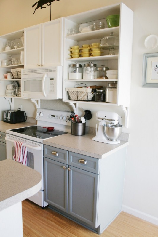 gray and white kitchen with open cabinets, Pretend Fancy featured on Remodelaholic