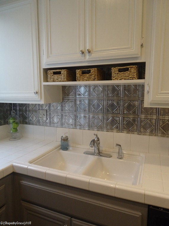 gray and white kitchen with tin tile backsplash, Shaped By Grace