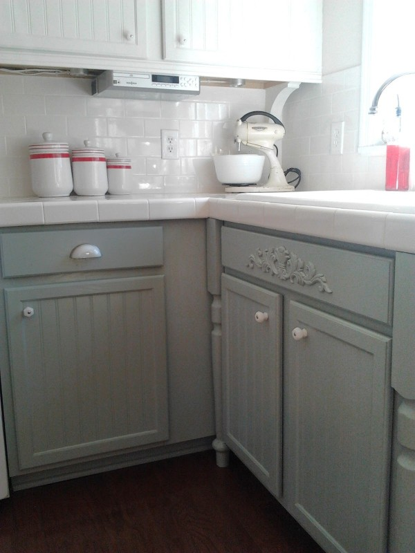 gray and white painted oak cabinets, Mom and Her Drill featured on Remodelaholic