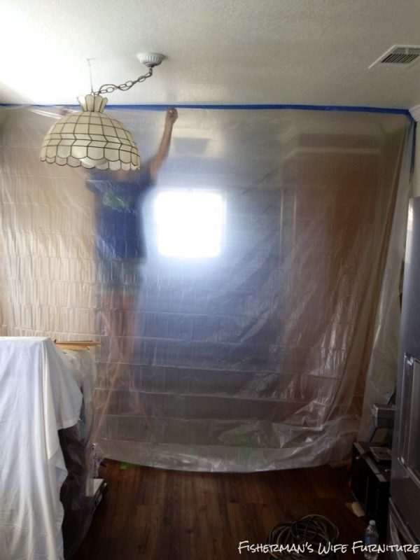 hang a plastic barrier when painting to protect from overspray and dust, Fisherman's Wife Furniture featured on Remodelaholic.com
