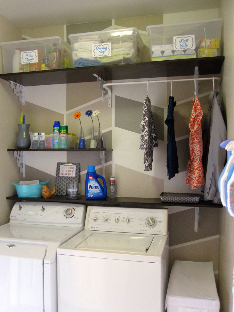 Remodelaholic Laundry Room Makeover With Personalized Hanging Laundry Bags