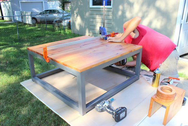 how to attach a wood table top to a modern coffee table, Home Coming featured on Remodelaholic