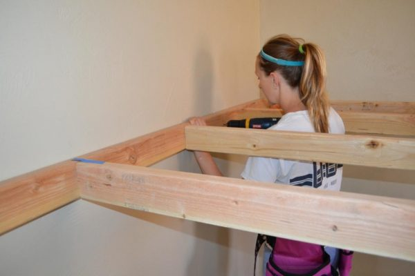 how to build an indoor tree house play loft and drill into the studs, I Am Hardware featured on Remodelaholic