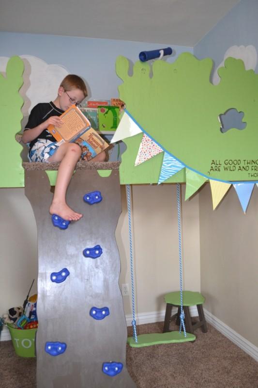 indoor tree house loft with bookshelf, I Am Hardware featured on Remodelaholic