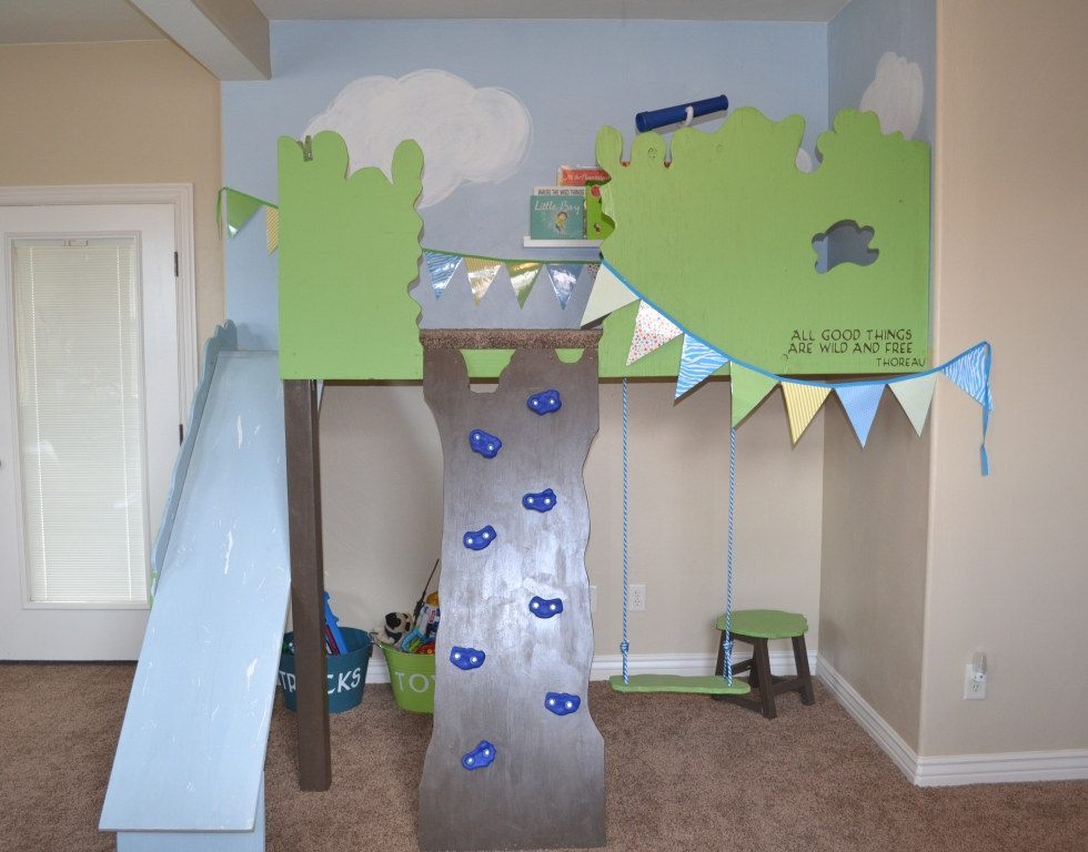 Remodelaholic | Build An Indoor Tree House With Slide and Rock ...
