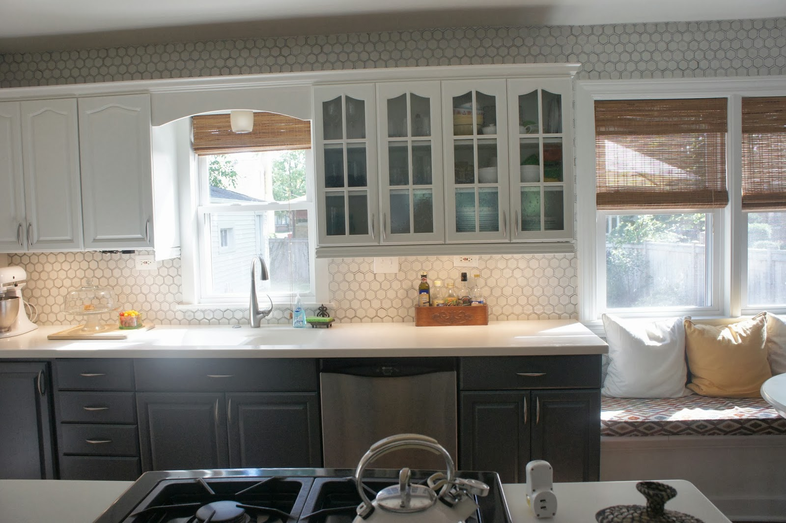 backsplash for kitchen cabinets 589 best backsplash ideas images remodelaholic gray and white kitchen makeover with hexagon tile