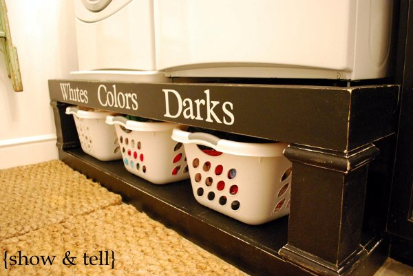 New  laundry room remodel with storage pedestal for washer and dryer Show and Tell on Remodelaholic