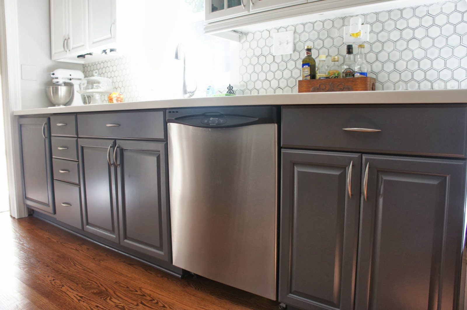 Marvelous lower cabinets painted gray LoveLee Homemaker featured on Remodelaholic