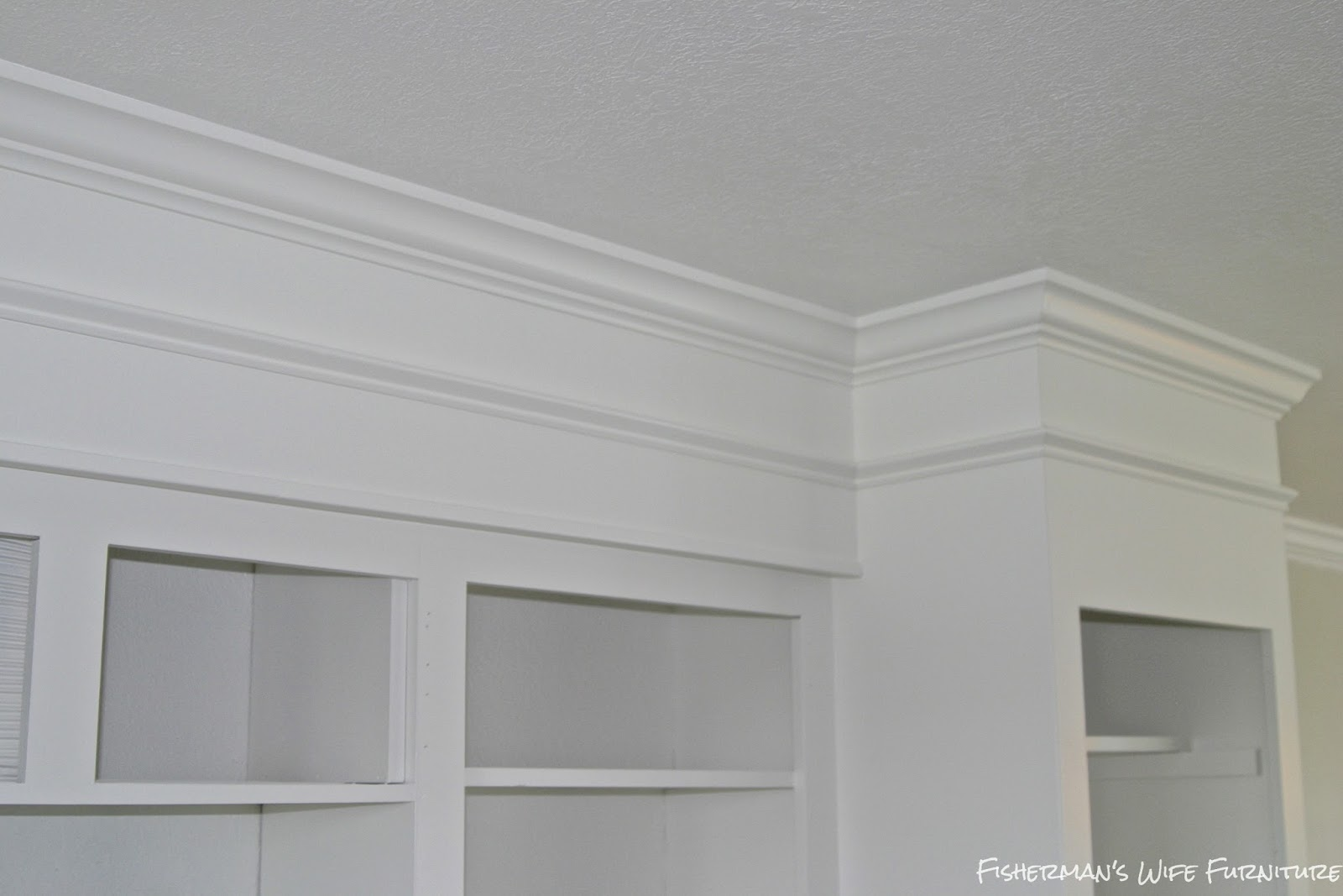 Remodelaholic small white kitchen makeover with built in for White kitchen cabinets with crown molding