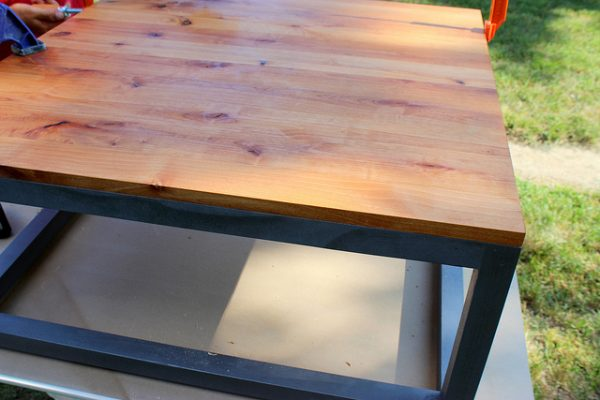 modern coffee table with wood top, Home Coming featured on Remodelaholic