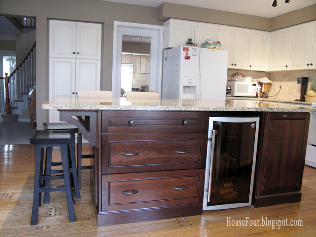 New new kitchen island with built in fridge and bookshelf House for Four via Remodelaholic