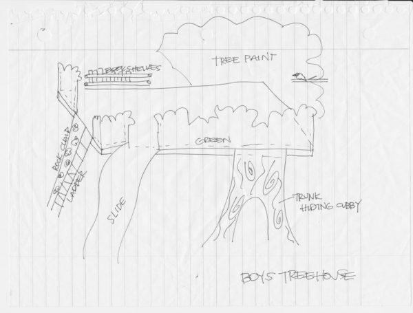 original sketched plans for loft indoor tree house, I Am Hardware featured on Remodelaholic